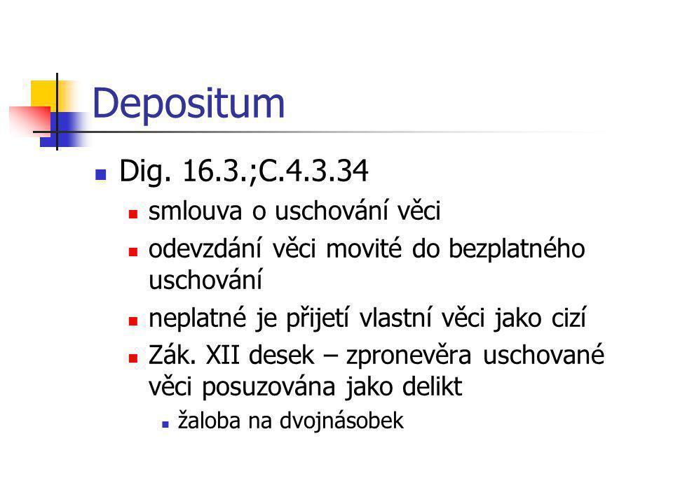 Depositum  Dig. 16.3.;C.4.3.34  smlouva o uschování věci  odevzdání věci movité do bezplatného uschování  neplatné je přijetí vlastní věci jako ci