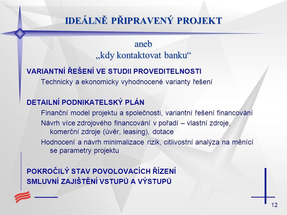 """12 IDEÁLNĚ PŘIPRAVENÝ PROJEKT aneb """"kdy kontaktovat banku VARIANTNÍ ŘEŠENÍ VE STUDII PROVEDITELNOSTI Technicky a ekonomicky vyhodnocené varianty řešení DETAILNÍ PODNIKATELSKÝ PLÁN Finanční model projektu a společnosti, variantní řešení financování Návrh více zdrojového financování v pořadí – vlastní zdroje, komerční zdroje (úvěr, leasing), dotace Hodnocení a návrh minimalizace rizik, citlivostní analýza na měnící se parametry projektu POKROČILÝ STAV POVOLOVACÍCH ŘÍZENÍ SMLUVNÍ ZAJIŠTĚNÍ VSTUPŮ A VÝSTUPŮ"""
