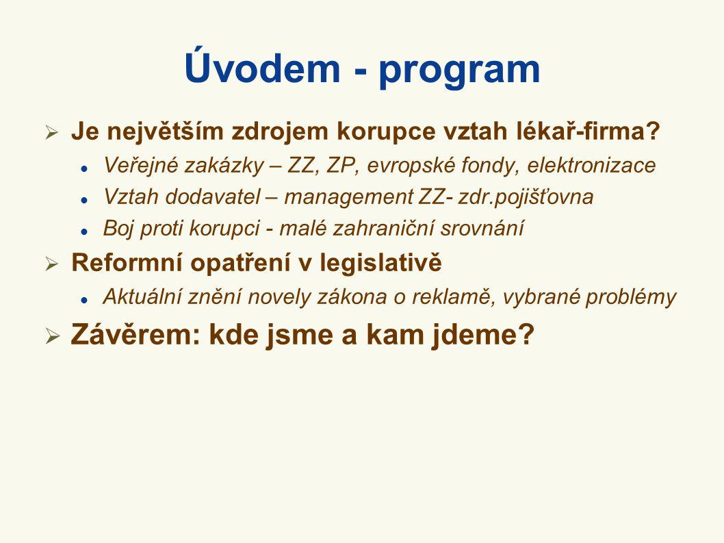 Úvodem - program  Je největším zdrojem korupce vztah lékař-firma?  Veřejné zakázky – ZZ, ZP, evropské fondy, elektronizace  Vztah dodavatel – manag
