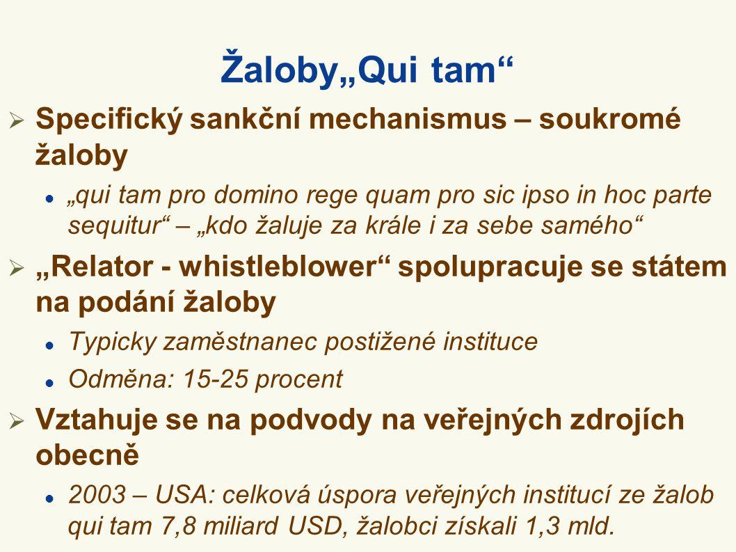 "Žaloby""Qui tam""  Specifický sankční mechanismus – soukromé žaloby  ""qui tam pro domino rege quam pro sic ipso in hoc parte sequitur"" – ""kdo žaluje z"
