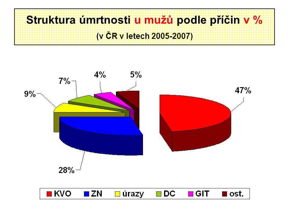 Struktura úmrtnosti u mužů podle příčin v % (v ČR v letech 2005-2007)
