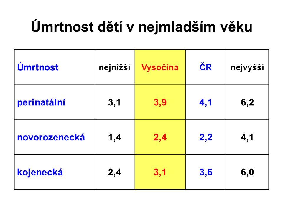 Úmrtnost dětí v nejmladším věku Úmrtnost nejnižšíVysočinaČRnejvyšší perinatální3,13,94,16,2 novorozenecká1,42,42,24,1 kojenecká2,43,13,66,0