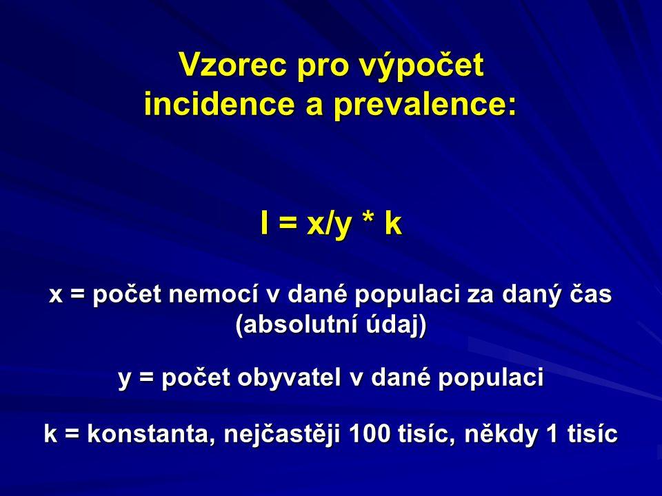 Vzorec pro výpočet incidence a prevalence: I = x/y * k x = počet nemocí v dané populaci za daný čas (absolutní údaj) y = počet obyvatel v dané populaci k = konstanta, nejčastěji 100 tisíc, někdy 1 tisíc