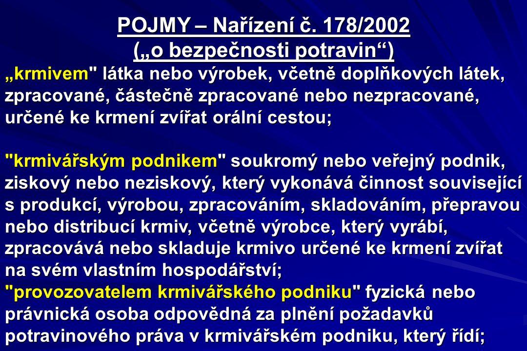 """POJMY – Nařízení č. 178/2002 (""""o bezpečnosti potravin"""") """"krmivem"""