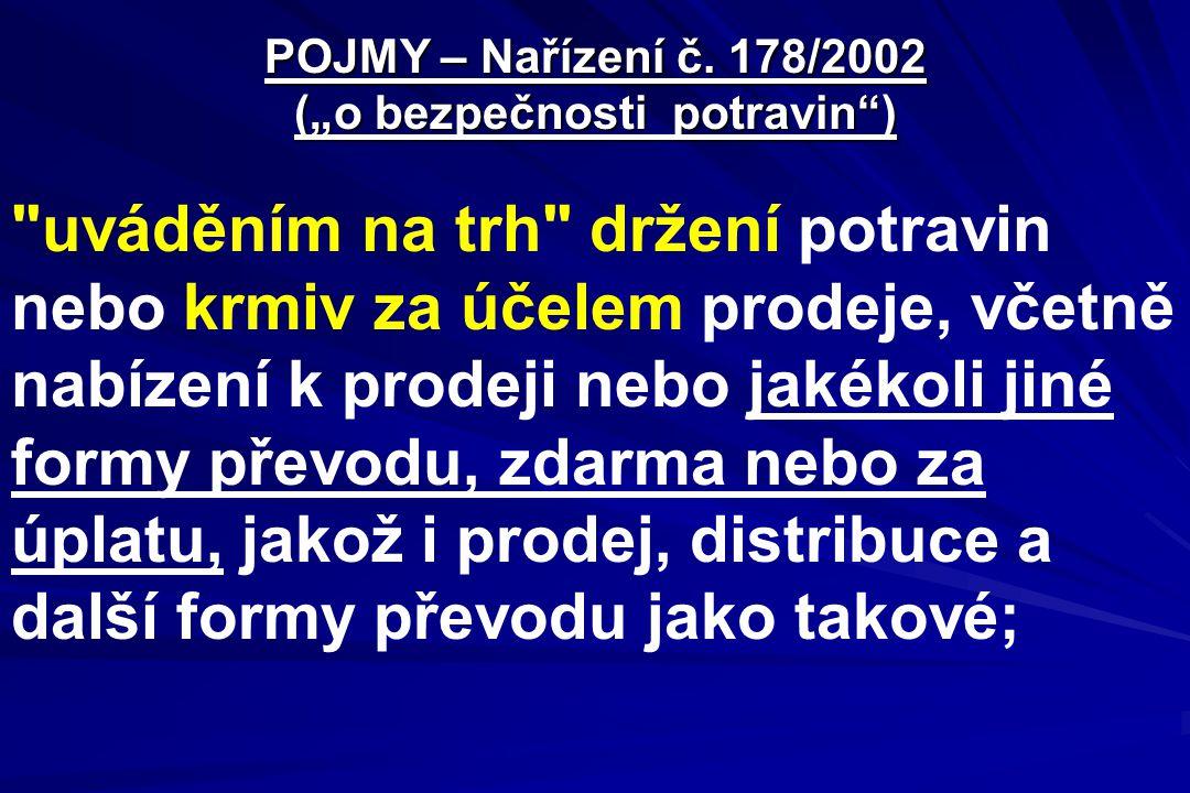 """POJMY – Nařízení č. 178/2002 (""""o bezpečnosti potravin"""")"""