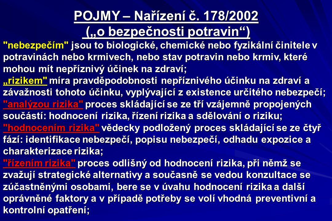 """POJMY – Nařízení č. 178/2002 (""""o bezpečnosti potravin"""") (""""o bezpečnosti potravin"""")"""