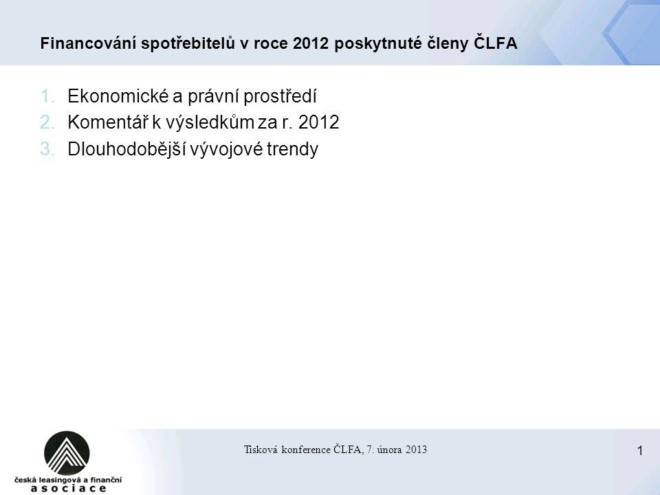 2 Tisková konference ČLFA, 7.února 2013 1.
