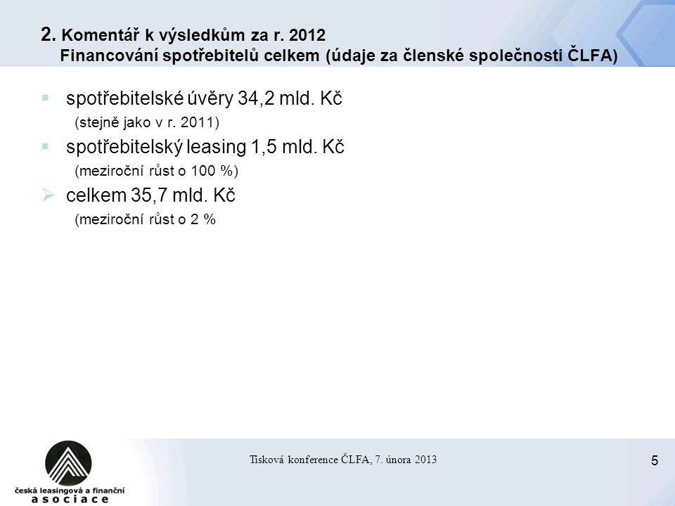 5 Tisková konference ČLFA, 7. února 2013 2. Komentář k výsledkům za r.