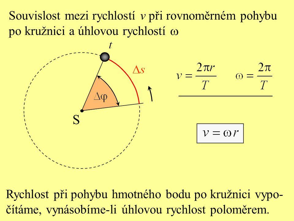 S Za jednu periodu T opíše hmotný bod dráhu  s, která je rovna obvodu kružnice a které přísluší úhel je 2  rad. Úhlová rychlost při rovnoměrném pohy