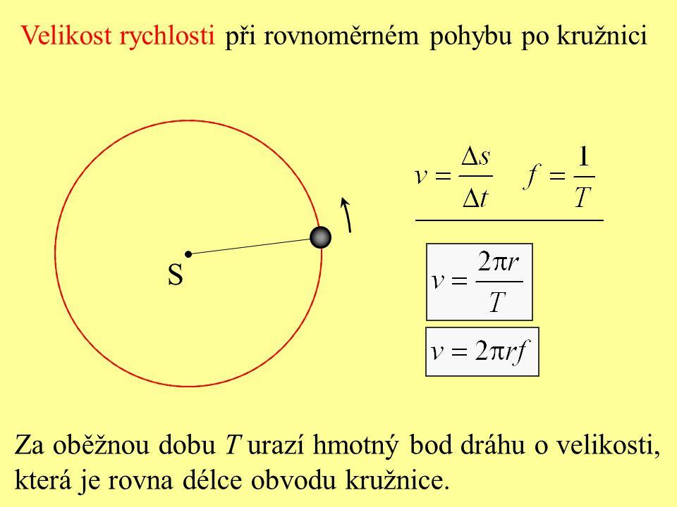 Při rovnoměrném pohybu hmotného bodu po kružnici má okamžitá rychlost stálou velikost, ale mění se její směr. Vektor rychlosti při rovnoměrném pohybu