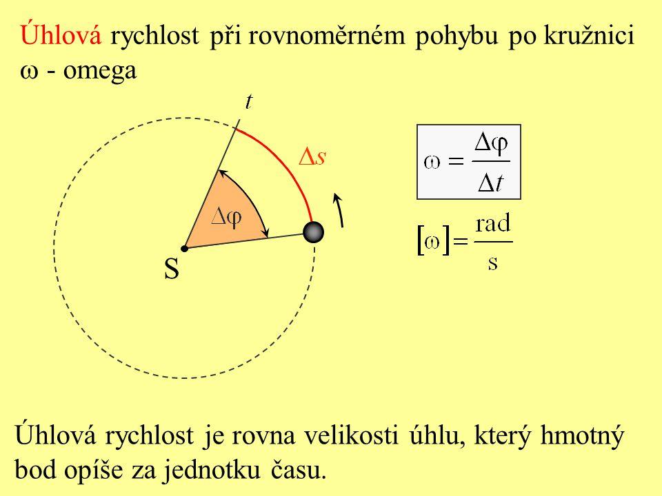 Za oběžnou dobu T urazí hmotný bod dráhu o velikosti, která je rovna délce obvodu kružnice. S Velikost rychlosti při rovnoměrném pohybu po kružnici