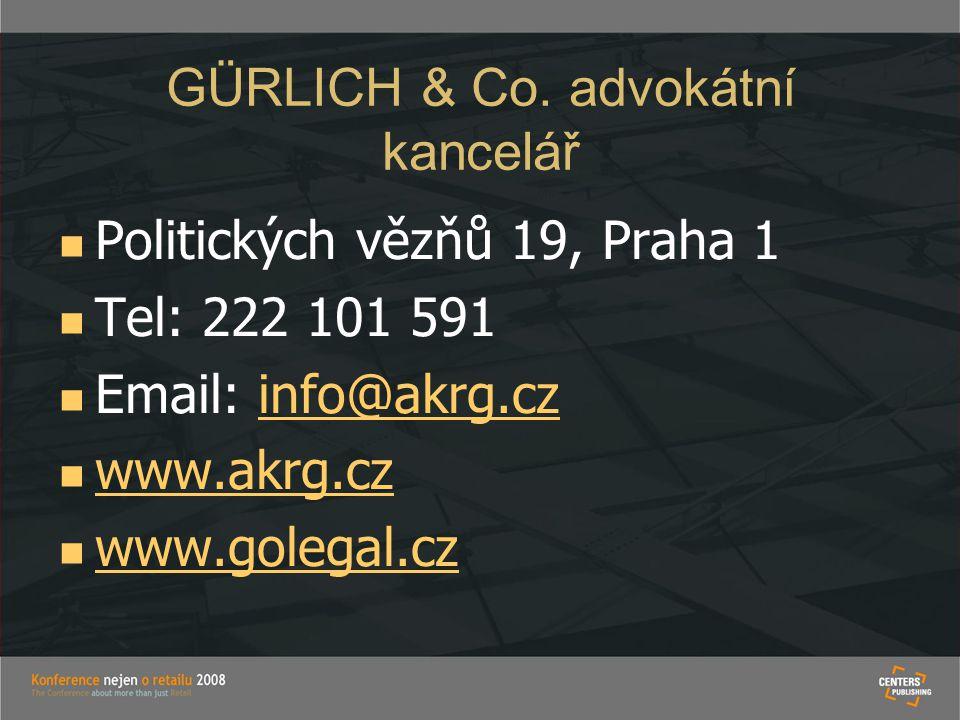 GÜRLICH & Co. advokátní kancelář   Politických vězňů 19, Praha 1   Tel: 222 101 591   Email: info@akrg.czinfo@akrg.cz   www.akrg.cz www.akrg.c