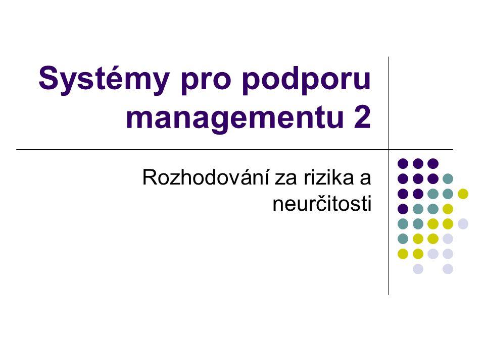 Systémy pro podporu managementu 2 Rozhodování za rizika a neurčitosti