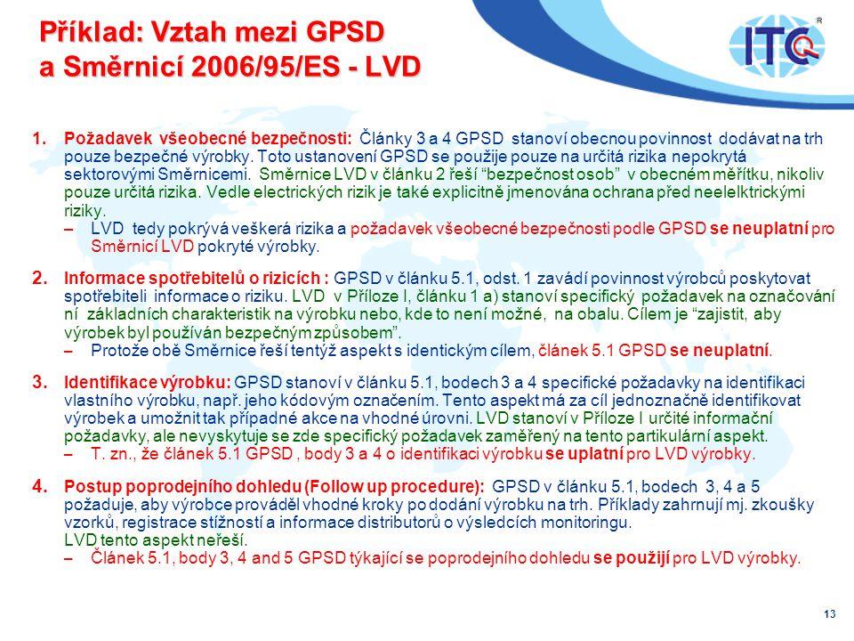 Příklad: Vztah mezi GPSD a Směrnicí 2006/95/ES - LVD 1.Požadavek všeobecné bezpečnosti: Články 3 a 4 GPSD stanoví obecnou povinnost dodávat na trh pouze bezpečné výrobky.