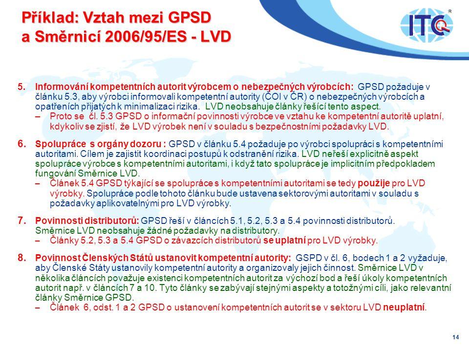 Příklad: Vztah mezi GPSD a Směrnicí 2006/95/ES - LVD 5.Informování kompetentních autorit výrobcem o nebezpečných výrobcích: GPSD požaduje v článku 5.3, aby výrobci informovali kompetentní autority (ČOI v ČR) o nebezpečných výrobcích a opatřeních přijatých k minimalizaci rizika.