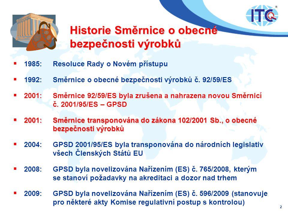 Historie Směrnice o obecné bezpečnosti výrobků  1985: Resoluce Rady o Novém přístupu  1992: Směrnice o obecné bezpečnosti výrobků č.