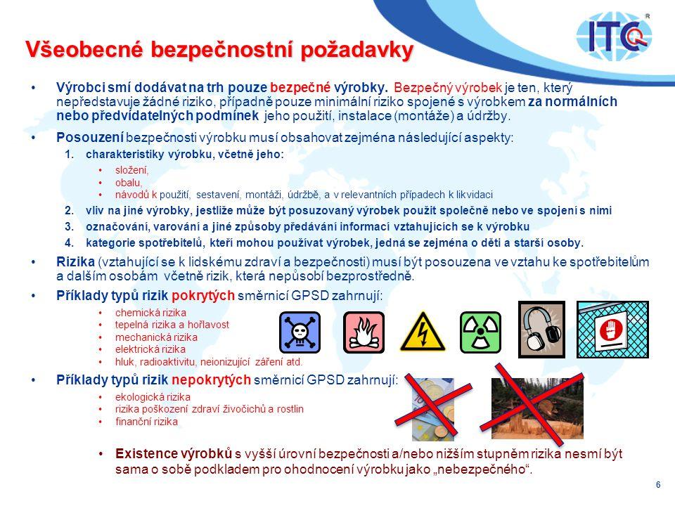 Všeobecné bezpečnostní požadavky •Výrobci smí dodávat na trh pouze bezpečné výrobky.