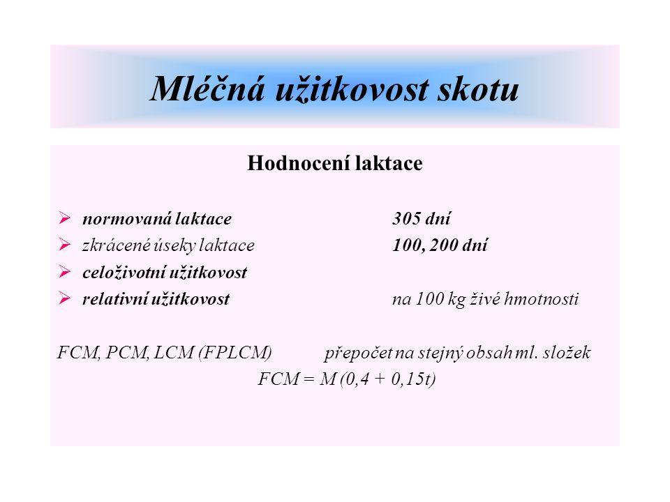 Hodnocení laktace  normovaná laktace305 dní  zkrácené úseky laktace100, 200 dní  celoživotní užitkovost  relativní užitkovostna 100 kg živé hmotnosti FCM, PCM, LCM (FPLCM)přepočet na stejný obsah ml.