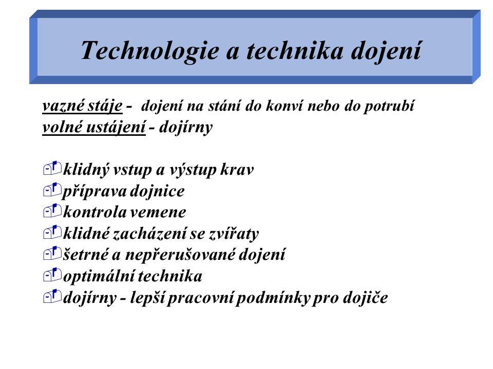 Technologie a technika dojení vazné stáje - dojení na stání do konví nebo do potrubí volné ustájení - dojírny  klidný vstup a výstup krav  příprava