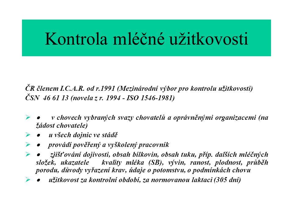 Kontrola mléčné užitkovosti ČR členem I.C.A.R.