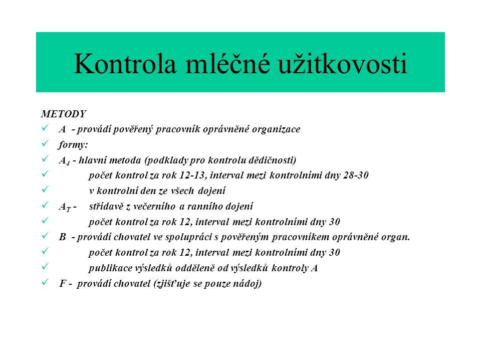 METODY  A - provádí pověřený pracovník oprávněné organizace  formy:  A 4 - hlavní metoda (podklady pro kontrolu dědičnosti)  počet kontrol za rok