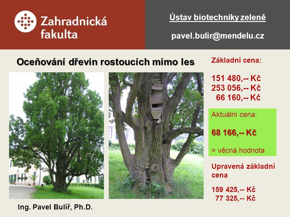 Ústav biotechniky zeleně pavel.bulir@mendelu.cz Oceňování dřevin rostoucích mimo les Ing. Pavel Bulíř, Ph.D. Základní cena: 151 480,-- Kč 253 056,-- K