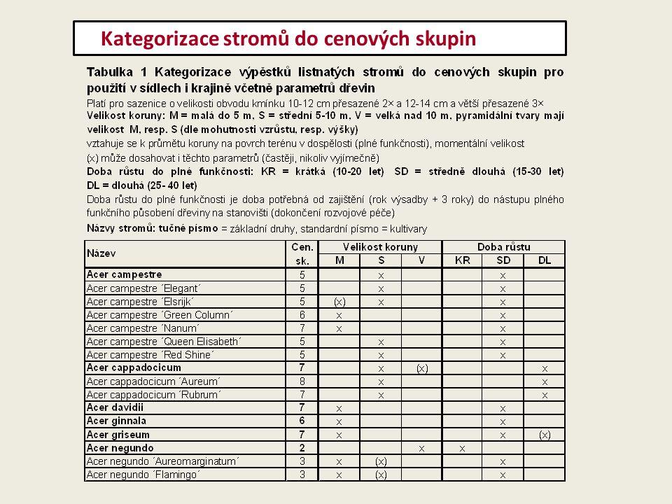 Kategorizace stromů do cenových skupin