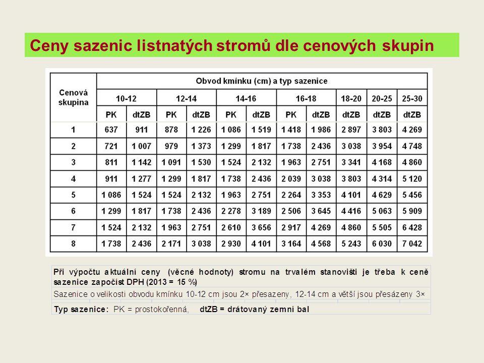 Ceny sazenic listnatých stromů dle cenových skupin