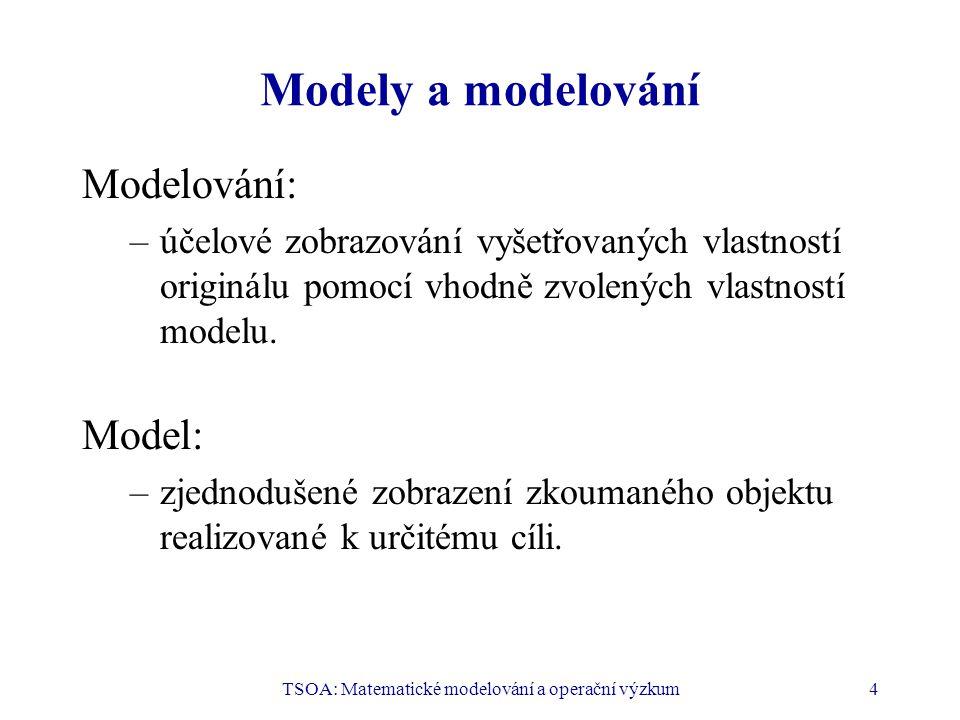 TSOA: Matematické modelování a operační výzkum4 Modely a modelování Modelování: –účelové zobrazování vyšetřovaných vlastností originálu pomocí vhodně zvolených vlastností modelu.