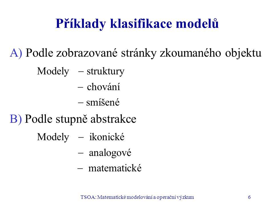 TSOA: Matematické modelování a operační výzkum6 Příklady klasifikace modelů A) Podle zobrazované stránky zkoumaného objektu Modely  struktury  chování  smíšené B) Podle stupně abstrakce Modely  ikonické  analogové  matematické
