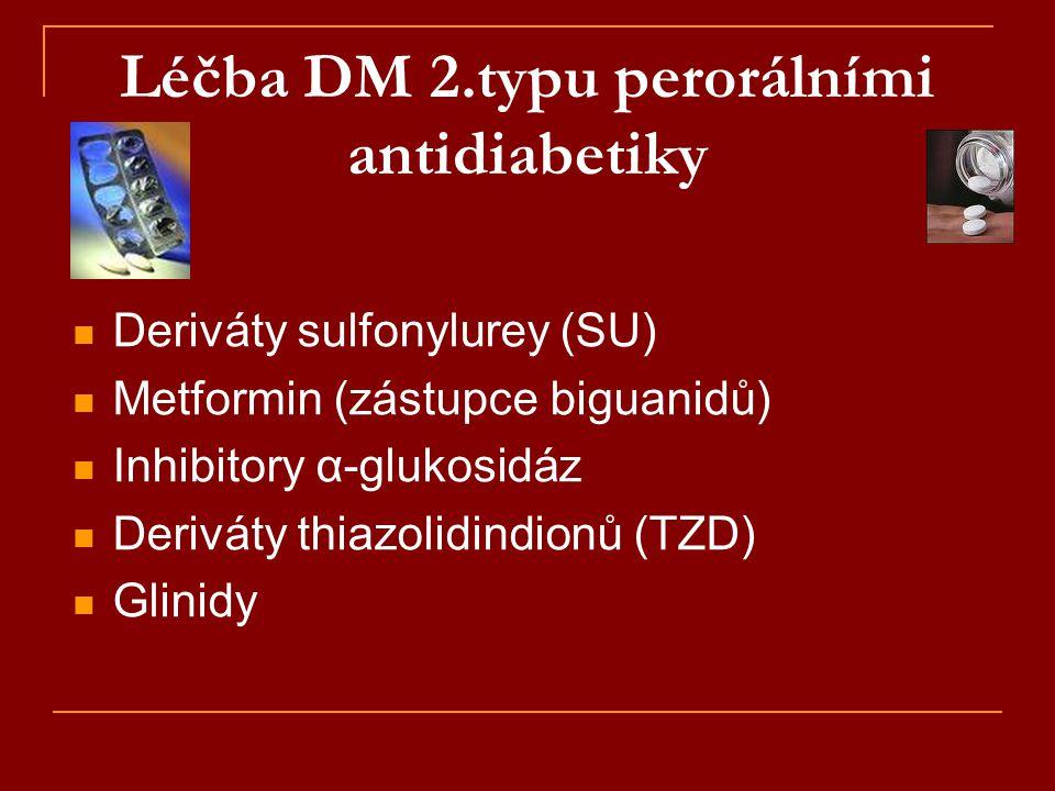Léčba DM 2.typu perorálními antidiabetiky  Deriváty sulfonylurey (SU)  Metformin (zástupce biguanidů)  Inhibitory α-glukosidáz  Deriváty thiazolid