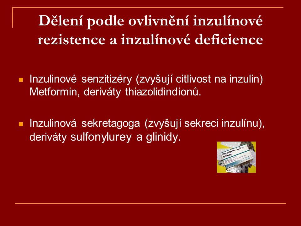 Dělení podle ovlivnění inzulínové rezistence a inzulínové deficience  Inzulinové senzitizéry (zvyšují citlivost na inzulin) Metformin, deriváty thiaz