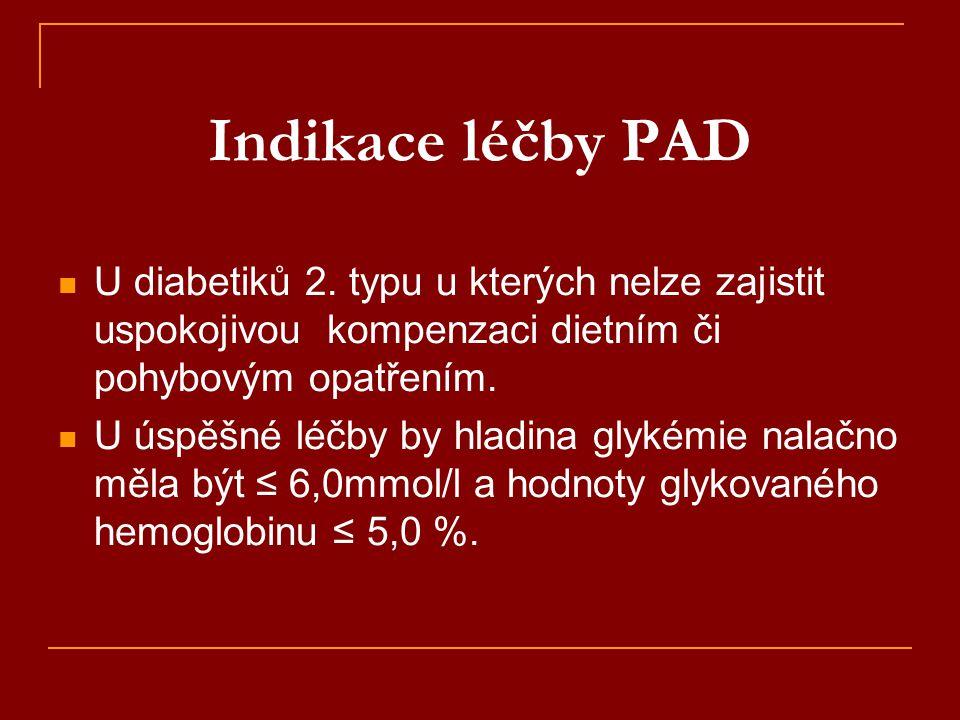 Indikace léčby PAD  U diabetiků 2. typu u kterých nelze zajistit uspokojivou kompenzaci dietním či pohybovým opatřením.  U úspěšné léčby by hladina