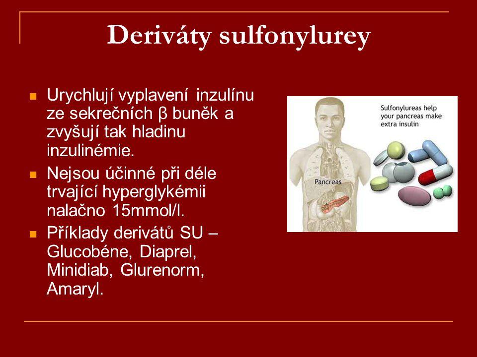 Deriváty sulfonylurey  Urychlují vyplavení inzulínu ze sekrečních β buněk a zvyšují tak hladinu inzulinémie.  Nejsou účinné při déle trvající hyperg