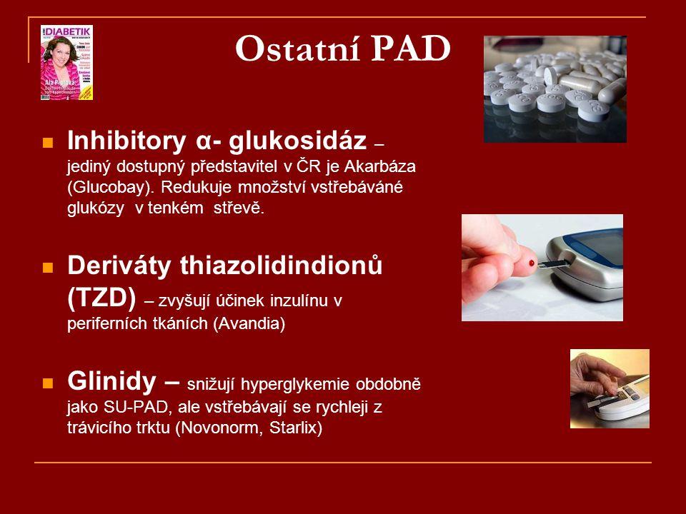 Ostatní PAD  Inhibitory α- glukosidáz – jediný dostupný představitel v ČR je Akarbáza (Glucobay). Redukuje množství vstřebáváné glukózy v tenkém stře