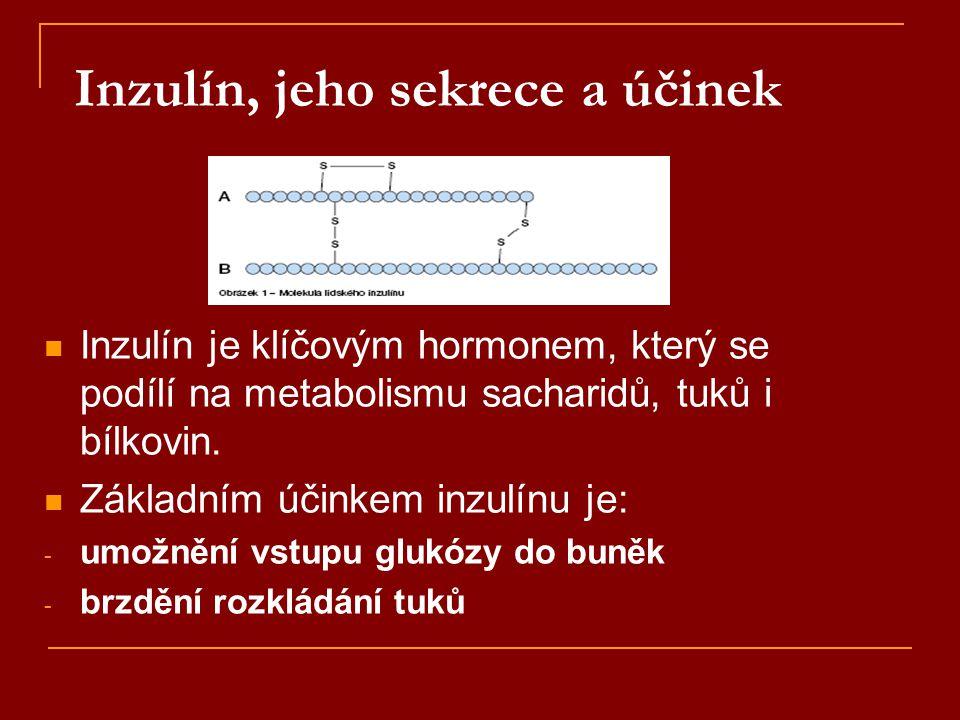 Inzulín, jeho sekrece a účinek  Inzulín je klíčovým hormonem, který se podílí na metabolismu sacharidů, tuků i bílkovin.  Základním účinkem inzulínu