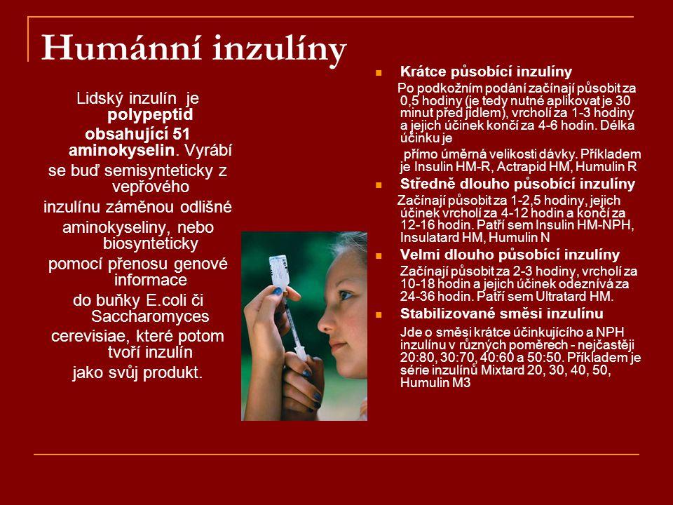 Humánní inzulíny Lidský inzulín je polypeptid obsahující 51 aminokyselin. Vyrábí se buď semisynteticky z vepřového inzulínu záměnou odlišné aminokysel