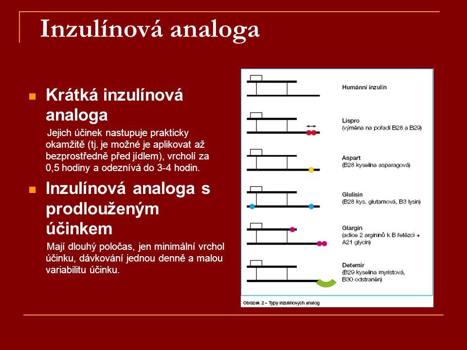 Inzulínová analoga  Krátká inzulínová analoga Jejich účinek nastupuje prakticky okamžitě (tj. je možné je aplikovat až bezprostředně před jídlem), vr
