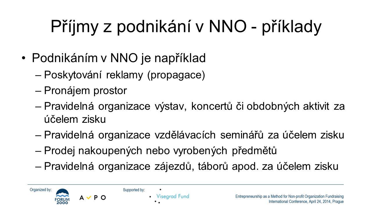 Příjmy z podnikání v NNO - příklady •Podnikáním v NNO je například –Poskytování reklamy (propagace) –Pronájem prostor –Pravidelná organizace výstav, k