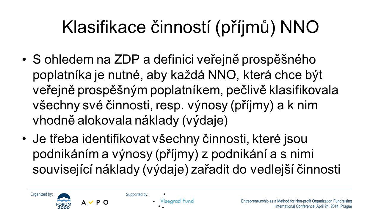 Klasifikace činností (příjmů) NNO •S ohledem na ZDP a definici veřejně prospěšného poplatníka je nutné, aby každá NNO, která chce být veřejně prospěšn