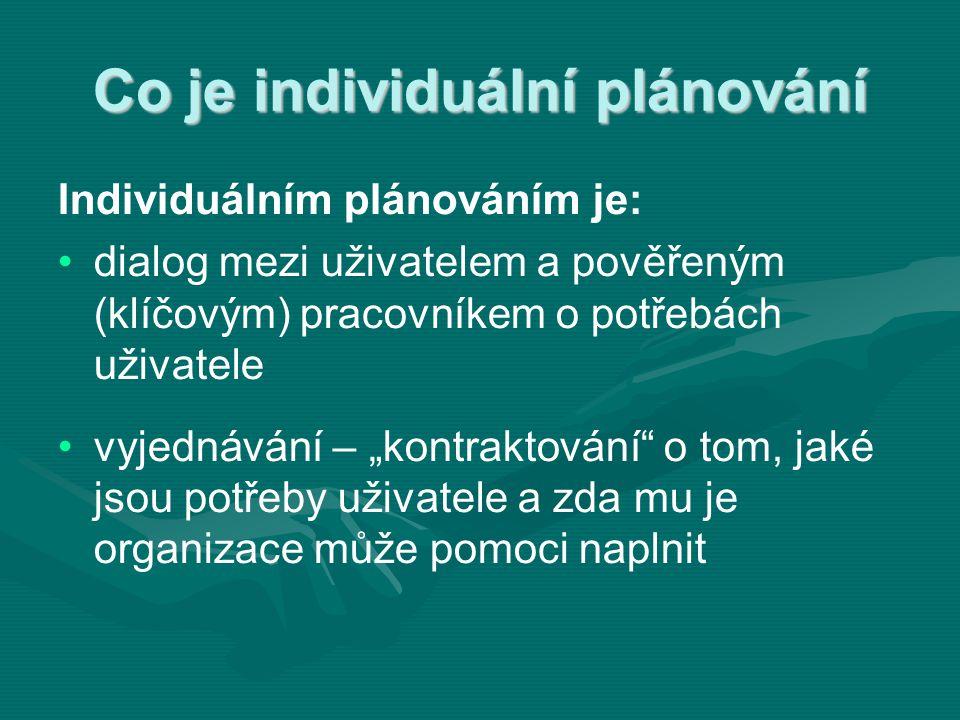 """Co je individuální plánování Individuálním plánováním je: • •dialog mezi uživatelem a pověřeným (klíčovým) pracovníkem o potřebách uživatele • •vyjednávání – """"kontraktování o tom, jaké jsou potřeby uživatele a zda mu je organizace může pomoci naplnit"""