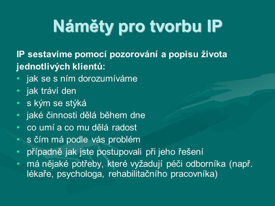Náměty pro tvorbu IP IP sestavíme pomocí pozorování a popisu života jednotlivých klientů: • •jak se s ním dorozumíváme • •jak tráví den • •s kým se st