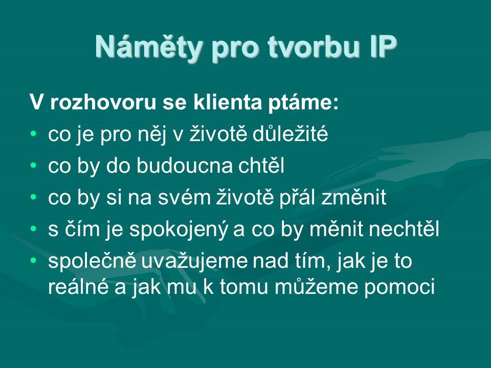 Náměty pro tvorbu IP V rozhovoru se klienta ptáme: • •co je pro něj v životě důležité • •co by do budoucna chtěl • •co by si na svém životě přál změni