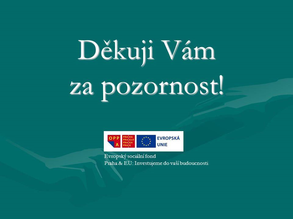 Děkuji Vám za pozornost! Evropský sociální fond Praha & EU: Investujeme do vaší budoucnosti