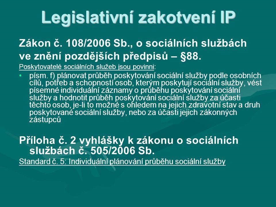 Legislativní zakotvení IP Zákon č. 108/2006 Sb., o sociálních službách ve znění pozdějších předpisů – §88. Poskytovatelé sociálních služeb jsou povinn