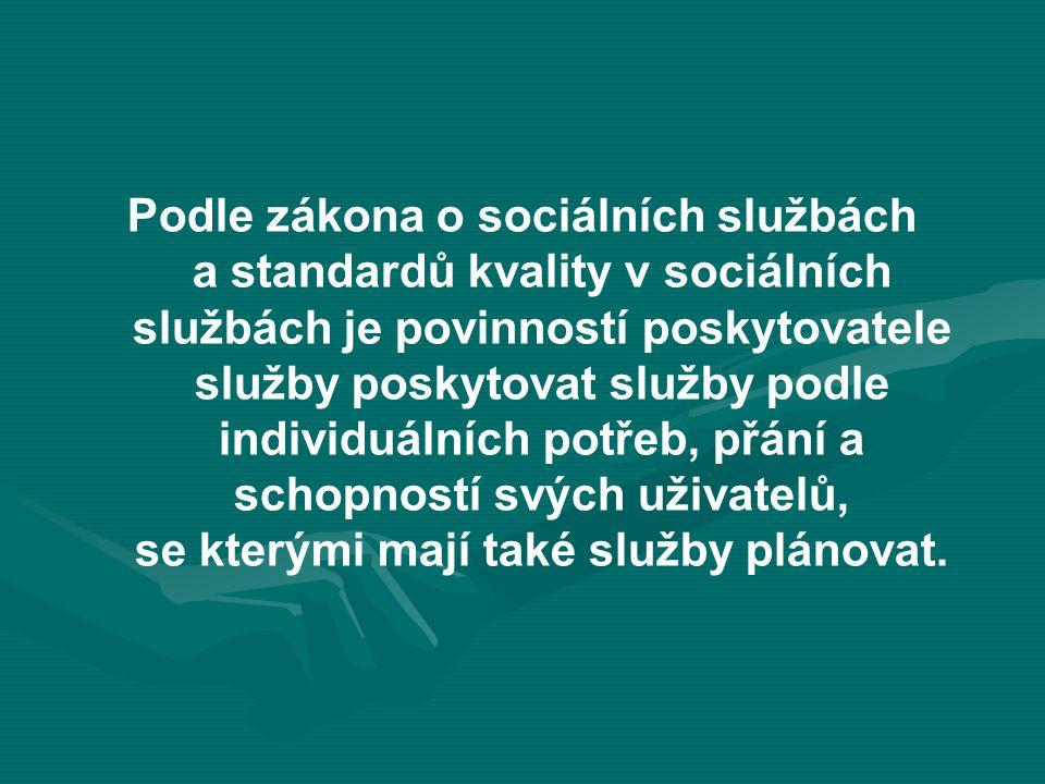 Podle zákona o sociálních službách a standardů kvality v sociálních službách je povinností poskytovatele služby poskytovat služby podle individuálních