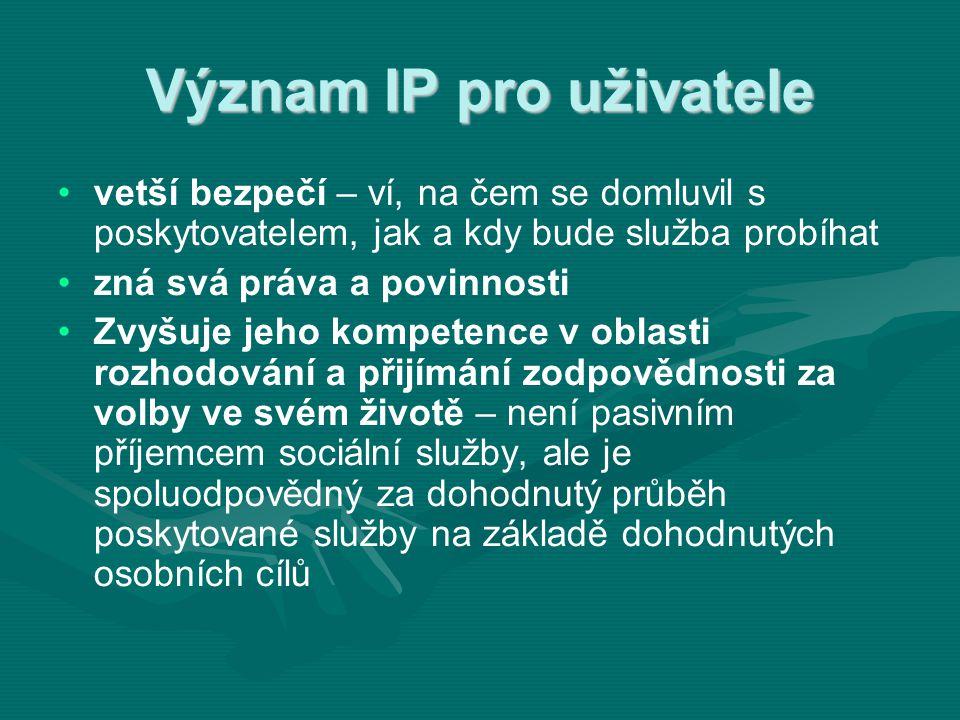 Význam IP pro uživatele • •vetší bezpečí – ví, na čem se domluvil s poskytovatelem, jak a kdy bude služba probíhat • •zná svá práva a povinnosti • •Zv
