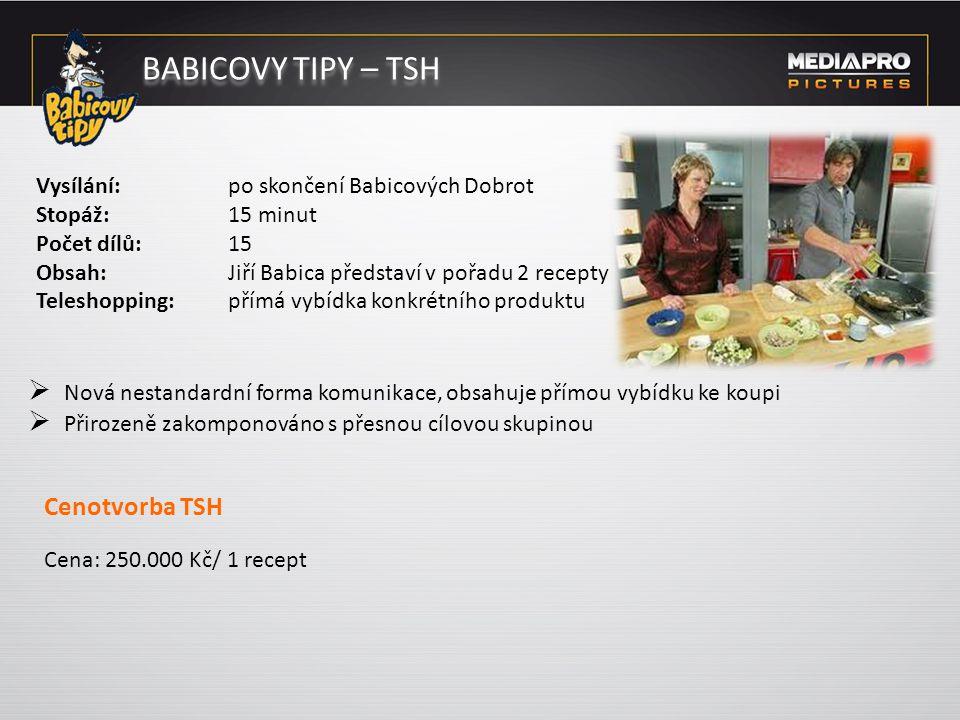 BABICOVY TIPY – TSH Vysílání: po skončení Babicových Dobrot Stopáž: 15 minut Počet dílů: 15 Obsah: Jiří Babica představí v pořadu 2 recepty Teleshoppi