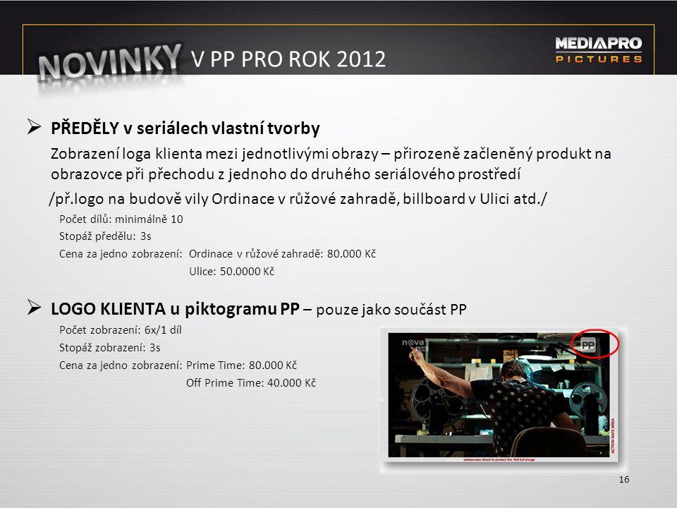 V PP PRO ROK 2012  PŘEDĚLY v seriálech vlastní tvorby Zobrazení loga klienta mezi jednotlivými obrazy – přirozeně začleněný produkt na obrazovce při