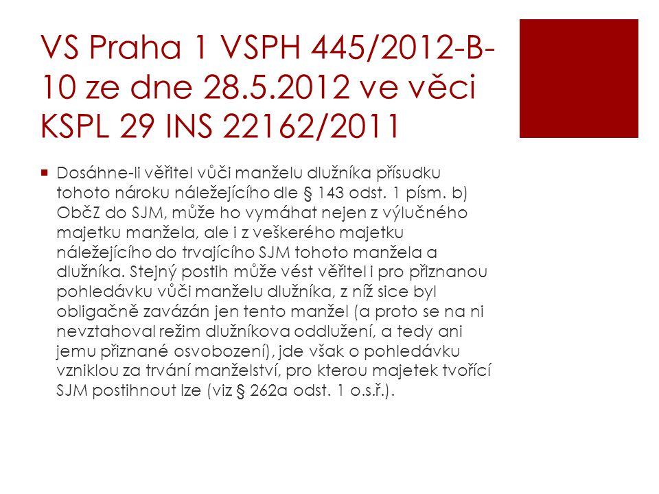 VS Praha 1 VSPH 445/2012-B- 10 ze dne 28.5.2012 ve věci KSPL 29 INS 22162/2011  Dosáhne-li věřitel vůči manželu dlužníka přísudku tohoto nároku nálež